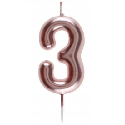 Bougie gâteau anniversaire rose gold chiffre 3 sur pique (x1) REF/7305