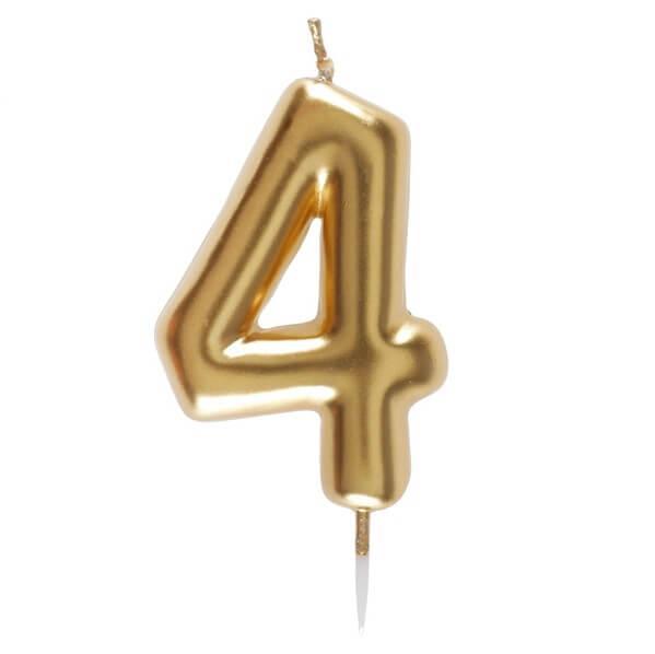 Bougie anniversaire chiffre 4 dore metallise sur pique