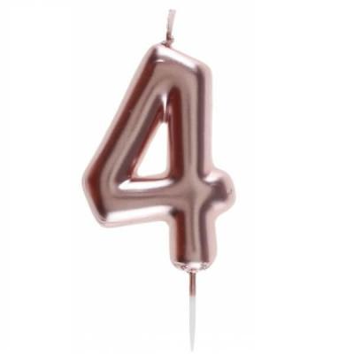 Bougie gâteau anniversaire rose gold chiffre 4 sur pique (x1) REF/7305