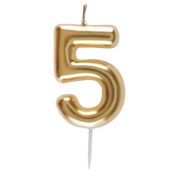 Bougie anniversaire chiffre 5 dore metallise sur pique