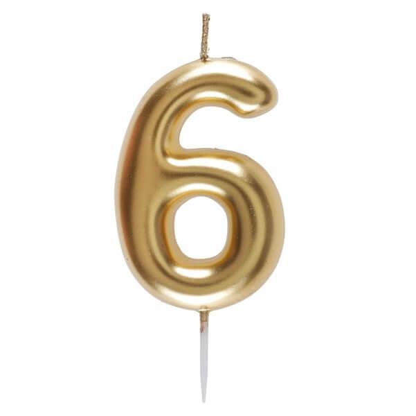Bougie anniversaire chiffre 6 dore metallise sur pique