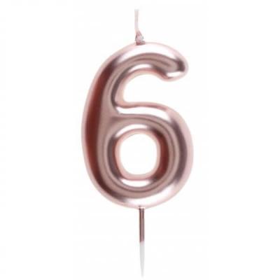 Bougie gâteau anniversaire rose gold chiffre 6 sur pique (x1) REF/7305