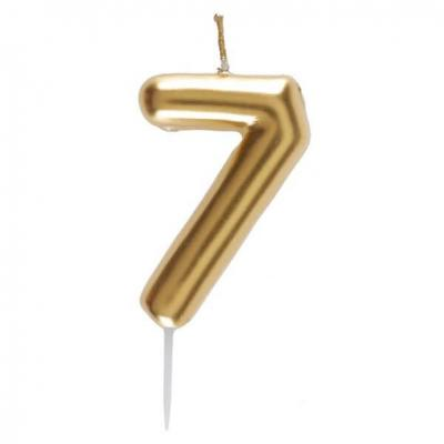 Bougie dorée avec chiffre 7 pour décoration gâteau anniversaire (x1) REF/6933