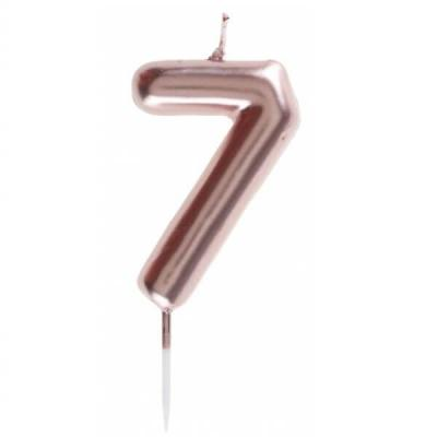 Bougie gâteau anniversaire rose gold chiffre 7 sur pique (x1) REF/7305