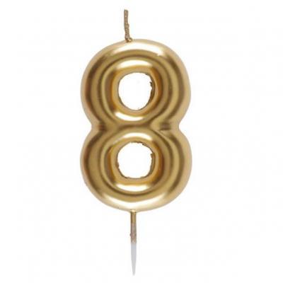 Bougie dorée avec chiffre 8 pour décoration gâteau anniversaire (x1) REF/6933
