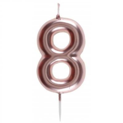 Bougie gâteau anniversaire rose gold chiffre 8 sur pique (x1) REF/7305