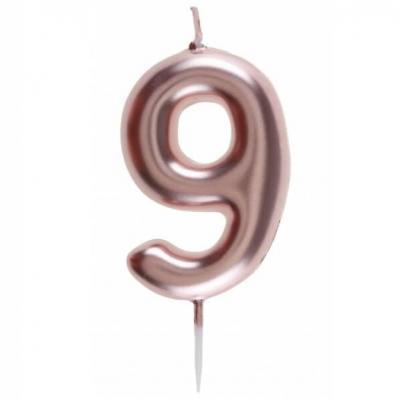 Bougie gâteau anniversaire rose gold chiffre 9 sur pique (x1) REF/7305