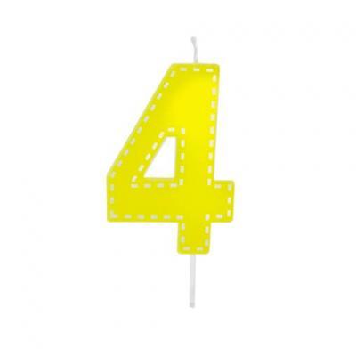 Bougie anniversaire jaune 4ans (x1) REF/BGA1201