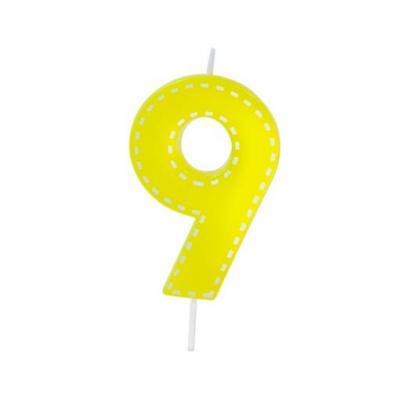 Bougie anniversaire jaune 9ans (x1) REF/BGA1201