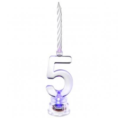 Bougie anniversaire lumineuse chiffre 5 (x1) REF/5861