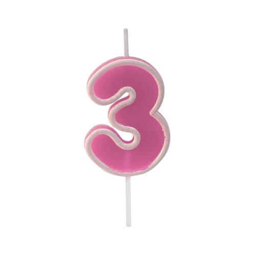 Bougie anniversaire rose 3ans