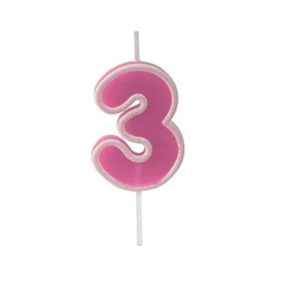 Bougie anniversaire rose 3ans (x1) REF/BGA1401/3