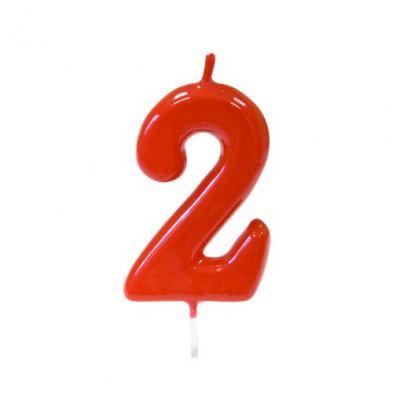 Bougie anniversaire rouge 2ans (x1) REF/BGA1100/2