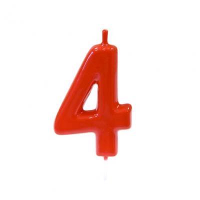 Bougie anniversaire rouge 4ans (x1) REF/BGA1100/4