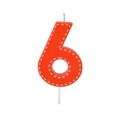 Bougie anniversaire rouge 6ans (x1) REF/BGA1201