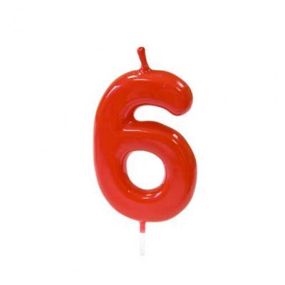 Bougie anniversaire rouge 6ans (x1) REF/BGA1100/6
