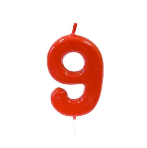 Bougie anniversaire rouge 9ans