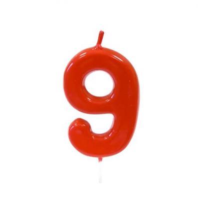 Bougie anniversaire rouge 9ans (x1) REF/BGA1100/9