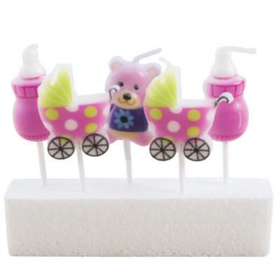 Bougie baby shower rose (x5) REF/62968
