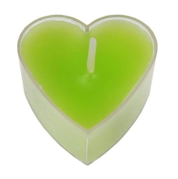Bougie chauffe plat coeur verte