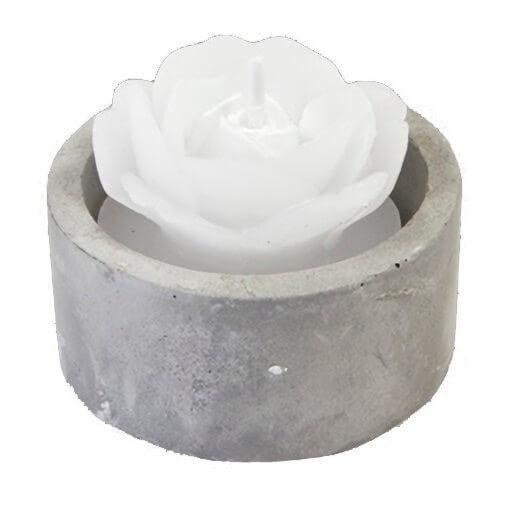 Bougie chauffe plat rose blanche avec pot gris effet ciment