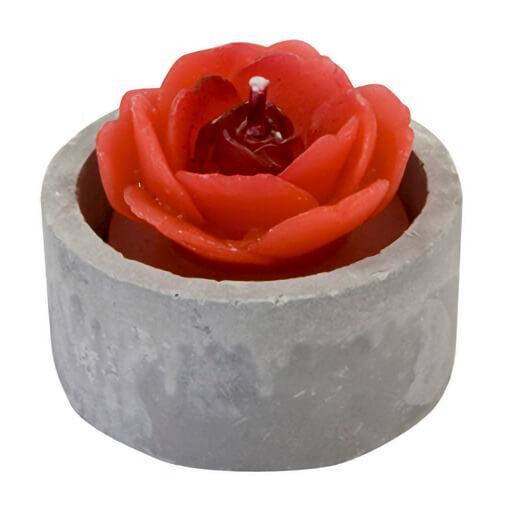 Bougie chauffe plat rose rouge avec pot gris effet ciment