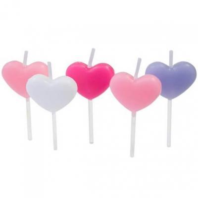Bougie coeur multicolore sur pique (x5) REF/BGA1003
