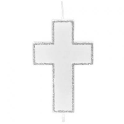 Bougie communion croix argent 6cm (x1) REF/BG070