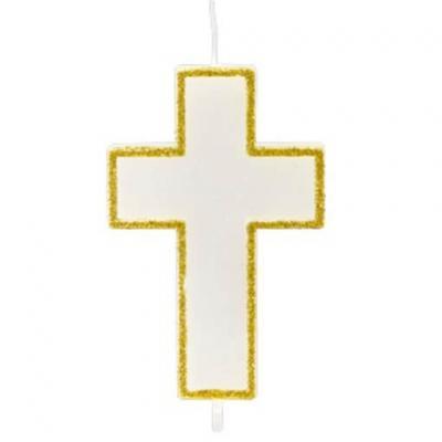 Bougie communion croix or 6cm (x1) REF/BG070