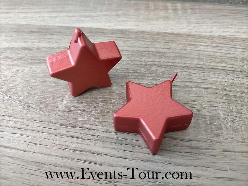 Bougie de noel etoile metallique rouge