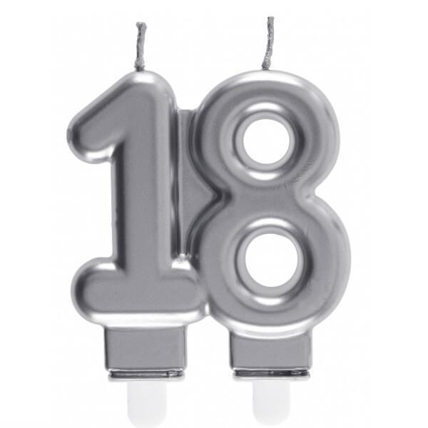 Bougie decorative pour gateau d anniversaire 18ans argentee metallisee