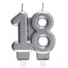 Bougie décorative pour gâteau d'anniversaire 18ans argentée métallisée (x1) REF/6931