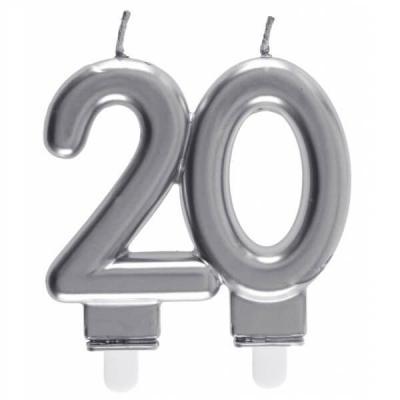 Bougie décorative pour gâteau d'anniversaire 20ans argentée métallisée (x1) REF/6931
