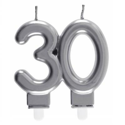 Bougie décorative pour gâteau d'anniversaire 30ans argentée métallisée (x1) REF/6931