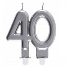 Bougie décorative pour gâteau d'anniversaire 40ans argentée métallisée (x1) REF/6931