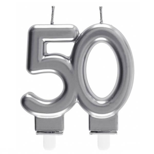 Bougie decorative pour gateau d anniversaire 50ans argentee metallisee
