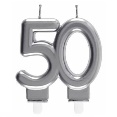 Bougie décorative pour gâteau d'anniversaire 50ans argentée métallisée (x1) REF/6931