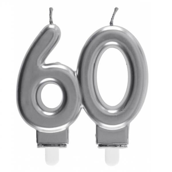 Bougie decorative pour gateau d anniversaire 60ans argentee metallisee