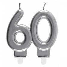 Bougie décorative pour gâteau d'anniversaire 60ans argentée métallisée (x1) REF/6931