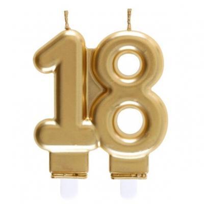 Bougie dorée métallisée 18ans pour décoration gâteau d'anniversaire (x1) REF/6930