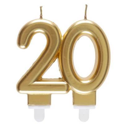Bougie dorée métallisée 20ans pour décoration gâteau d'anniversaire (x1) REF/6930