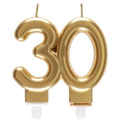 Bougie dorée métallisée 30ans pour décoration gâteau d'anniversaire (x1) REF/6930