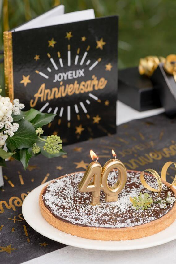 Bougie doree metallisee 40ans decoration gateau d anniversaire