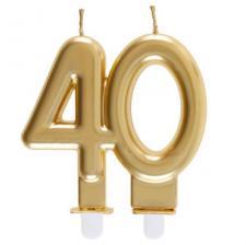 Bougie dorée métallisée 40ans pour décoration gâteau d'anniversaire (x1) REF/6930