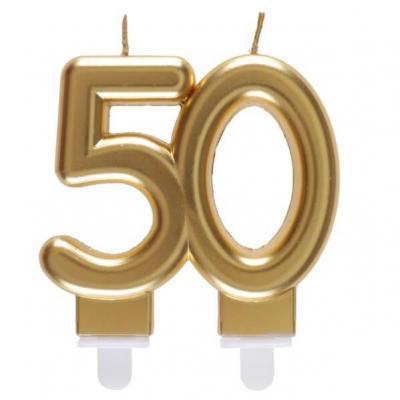 Bougie dorée métallisée 50ans pour décoration gâteau d'anniversaire (x1) REF/6930