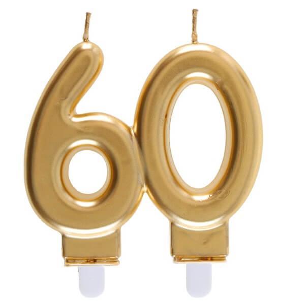Bougie doree metallisee 60ans pour decoration gateau d anniversaire