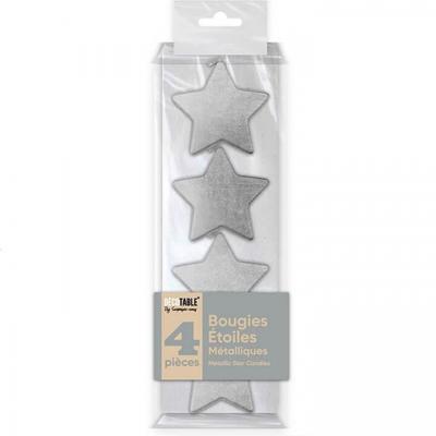 Bougie étoile argentée métallisée verticale (x4) REF/BOMEA