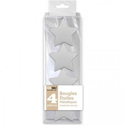 Bougie étoile blanche métallisée verticale (x4) REF/BOMEBA