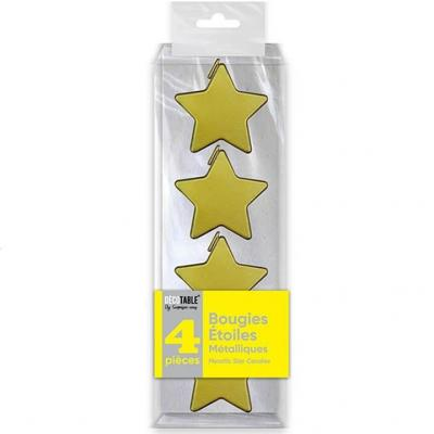 Bougie étoile dorée métallisée verticale (x4) REF/BOMEOR