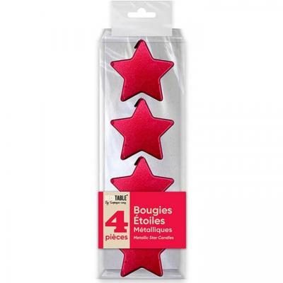 Bougie étoile rouge métallisée verticale (x4) REF/BOMER